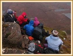 Cul Beag summit huddle