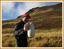 Chris with one of the more unusual flasks from Gillian's extensive collection
