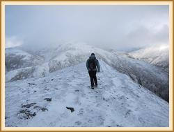 Fiona descending Carn Liath